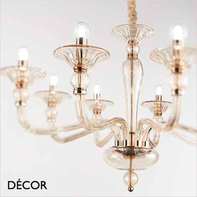 DANIELI CHANDELIER, 12 ARM, AMBER GLASS