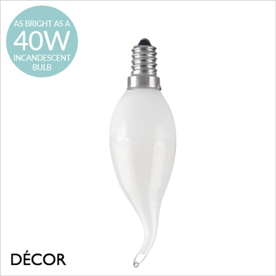 E14 4W LED WHITE FLAME TIP CANDLE BULB