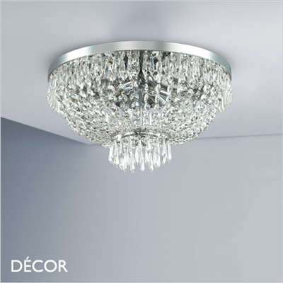 CAESAR CEILING LIGHT, 2 SIZES, CUT CRYSTAL & CHROME