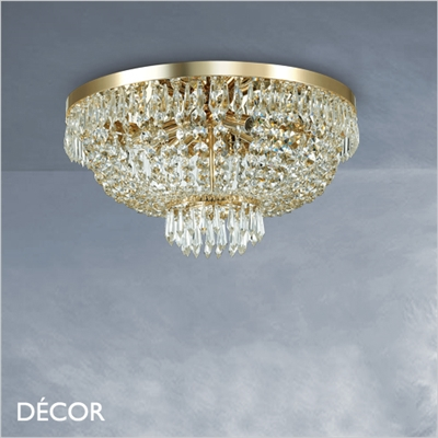 CAESAR CEILING LIGHT, 2 SIZES, CUT CRYSTAL & GOLD