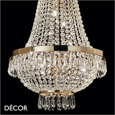 CAESAR CHANDELIER, 3 SIZES, CUT CRYSTAL & GOLD