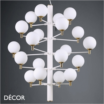 COPERNICO MULTIPLE PENDANT, WHITE & BRASS