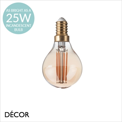 3.5W E14 AMBER LED FILAMENT, GOLF BALL BULB