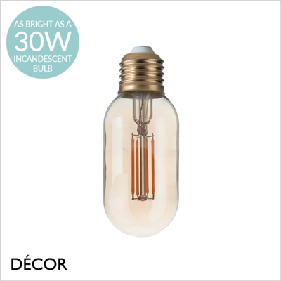 4W E27 AMBER LED FILAMENT BOMB SHAPED DESIGNER BULB