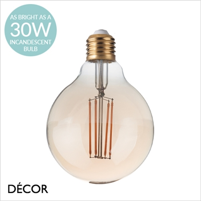 4W E27 LARGE AMBER LED FILAMENT 95mm GLOBE BULB