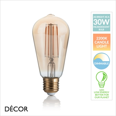 4W E27 AMBER LED FILAMENT, TEARDROP, DIMMABLE