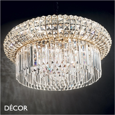 NABUCCO PENDANT LIGHT, 2 SIZES, CUT CRYSTAL & GOLD