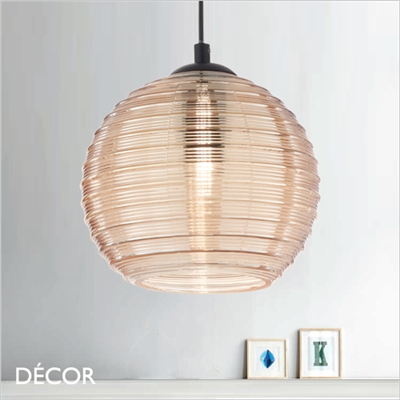 RIGA GLOBE PENDANT LIGHT, AMBER