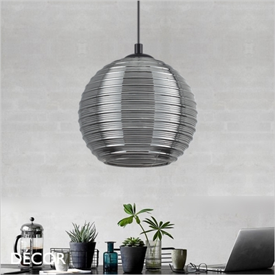 RIGA GLOBE PENDANT LIGHT, SMOKED GREY