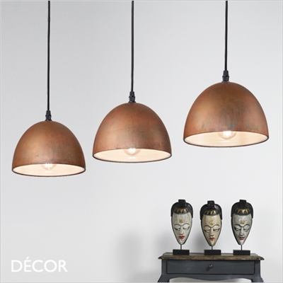 FOLK, 3 PENDANT LIGHT, OXIDISED
