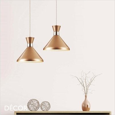 KENDAL TWO PENDANT LIGHT, ROSE GOLD AND CHROME