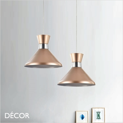 KENDAL THREE PENDANT LIGHT, ROSE GOLD AND CHROME
