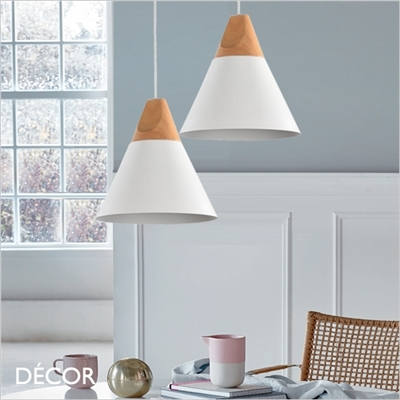 BICONES ONE PENDANT LIGHT, WHITE & BEECH