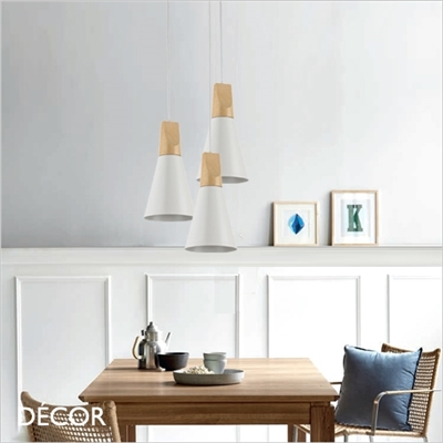 BICONES TWO PENDANT LIGHT, WHITE & BEECH