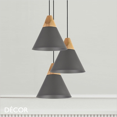 BICONES ONE PENDANT LIGHT, GREY & BEECH