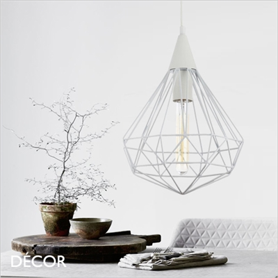 CALAF, DIAMOND CAGE  PENDANT LIGHT, WHITE