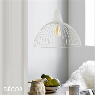 CALAF, DOME CAGE  PENDANT LIGHT, WHITE