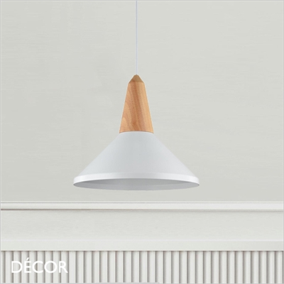 TROTTOLA PENDANT LIGHT, WHITE METAL & BEECH