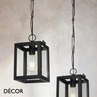 DELHI PENDANT LIGHT, BLACK & GLASS