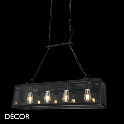 DELHI 4 LAMP PENDANT LIGHT, BLACK & GLASS