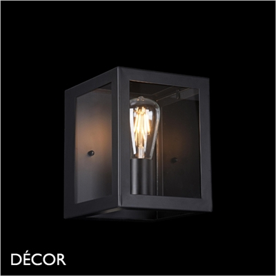 DELHI WALL LIGHT, BLACK & GLASS
