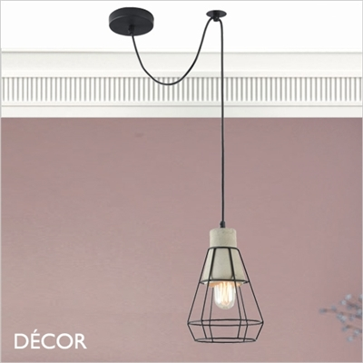 GOSFORD, TWO CAGE PENDANT LIGHT, CEMENT