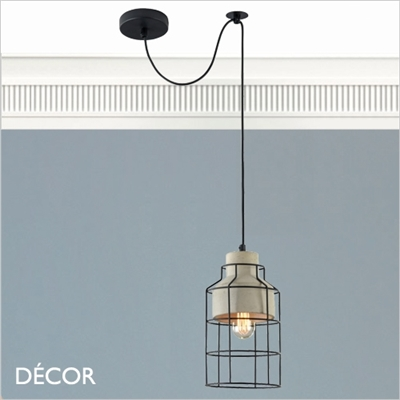 GOSFORD, ONE CAGE PENDANT LIGHT, CEMENT