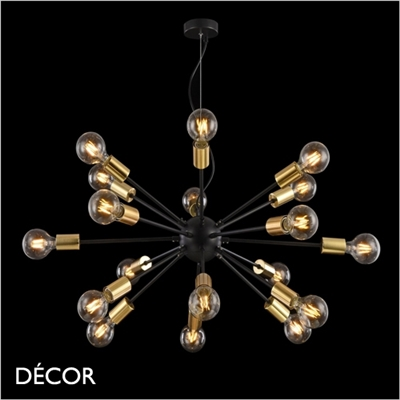 JACKSON PENDANT, BLACK & BRASS, EIGHTEEN LAMPS