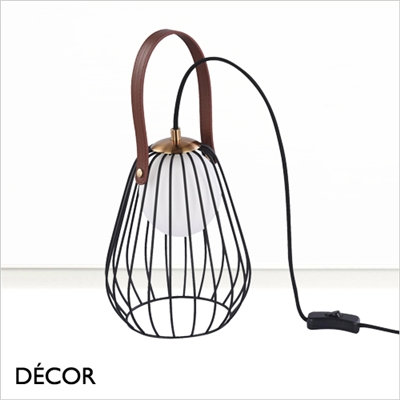 INDIANA CAGE TABLE LAMP, BLACK
