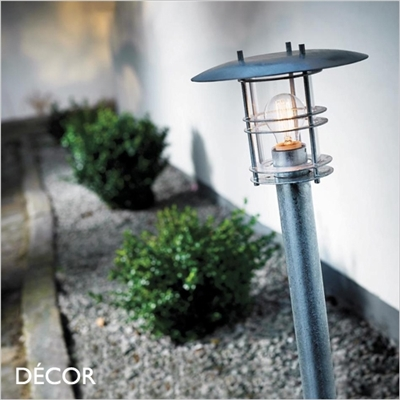 FREDENSBORG OUTDOOR POST LIGHT, WATER & MOISTURE RESISTANT, GALVANIZED STEEL