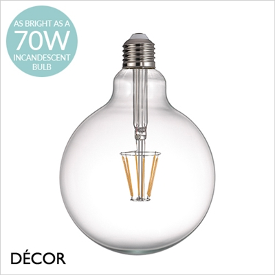 7.5W E27 LED FILAMENT GLOBE DESIGNER BULB, DIMMABLE