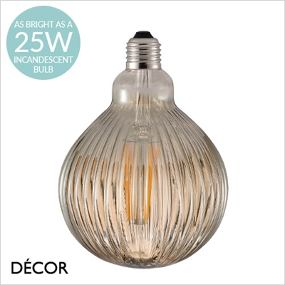 AVRA STRIPED DESIGNER BULB, E27 2W LED FILAMENT, AMBER