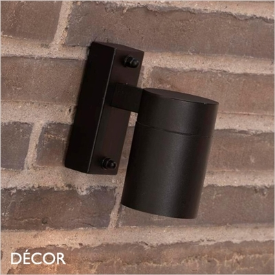 TIN, SINGLE OUTDOOR WALL LIGHT, WATER & MOISTURE RESISTANT, BLACK