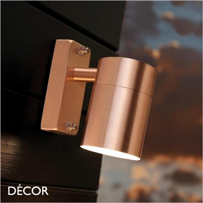 TIN, SINGLE OUTDOOR WALL LIGHT, WATER & MOISTURE RESISTANT, COPPER