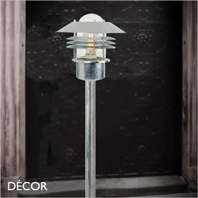 VEJERS OUTDOOR POST LIGHT, WATER & MOISTURE RESISTANT, GALVANIZED STEEL