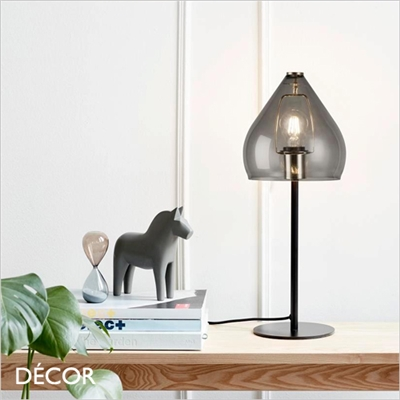SENCE TABLE LAMP, SMOKED GLASS