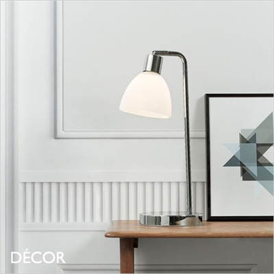 RAY DESK LIGHT, OPAL WHITE GLASS & CHROME