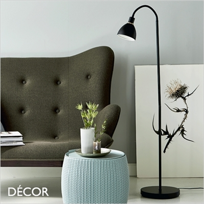 RAY FLOOR LAMP, BLACK & BRASS