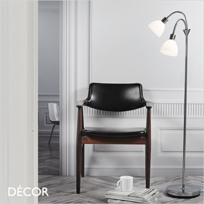 RAY FLOOR LAMP, DOUBLE, WHITE GLASS & CHROME