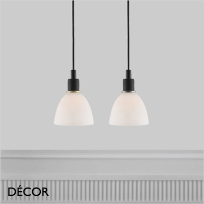 RAY PENDANT LIGHT, SET OF TWO, OPAL WHITE GLASS & BLACK