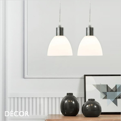 RAY PENDANT LIGHT, SET OF TWO, OPAL WHITE GLASS & CHROME