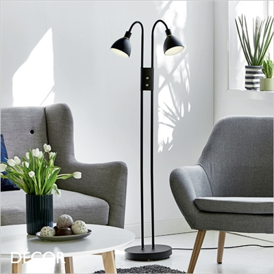 RAY FLOOR LAMP, DOUBLE DIMMABLE BLACK & BRASS