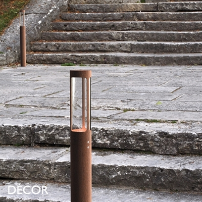 HELIX OUTDOOR POST LIGHT, WATER & MOISTURE RESISTANT, CORTEN STEEL, RUSTED FINISH