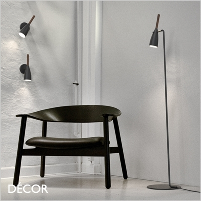 PURE FLOOR LAMP, BLACK & WALNUT