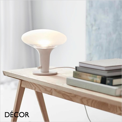 DEE GLASS TABLE LAMP, WHITE