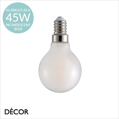E14 4.8 W LED WHITE GOLF BALL BULB, DIMMABLE