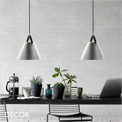 STRAP PENDANT LIGHT, BRUSHED STEEL, 3 SIZES