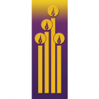 Christmas Candles Gold & Purple Banner 3.3m x 1.2m