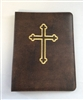 (NO 16) A4 Ring Binder Leather Folder Brown with Cross