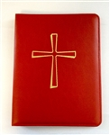 (NO 20) A4 Ring Binder Leather Folder Red with Cross